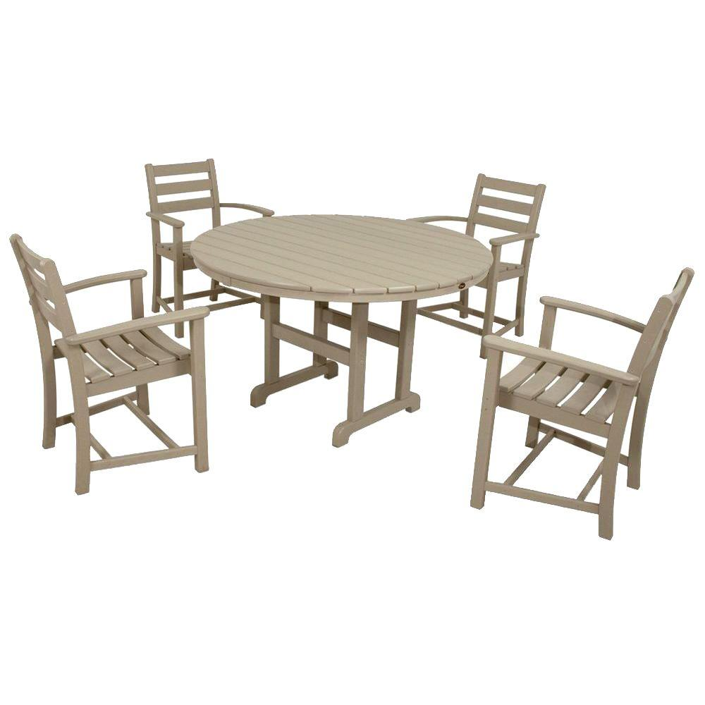 Monterey Bay Sand Castle 5-Piece Plastic Outdoor Patio Dining Set
