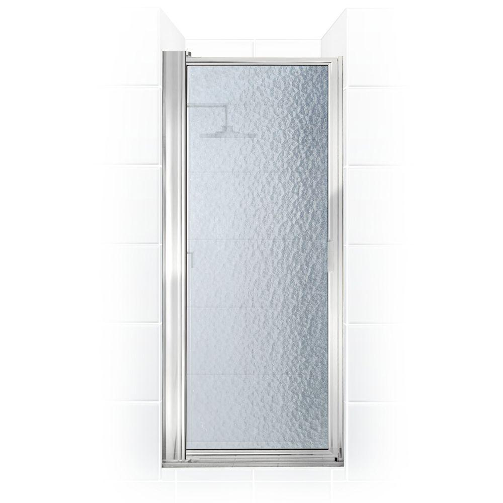 Coastal Shower Doors Paragon Series 26 in. x 69-5/8 in. Framed Maximum Adjustment Pivot Shower Door in Chrome and Aquatex Glass