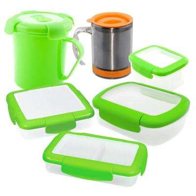 6-Piece Food Storage Container Assorted Pack in Green