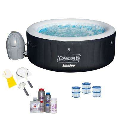 SaluSpa 4 Person Inflatable Hot Tub + Bestway 3 Piece Cleaning Tool Set