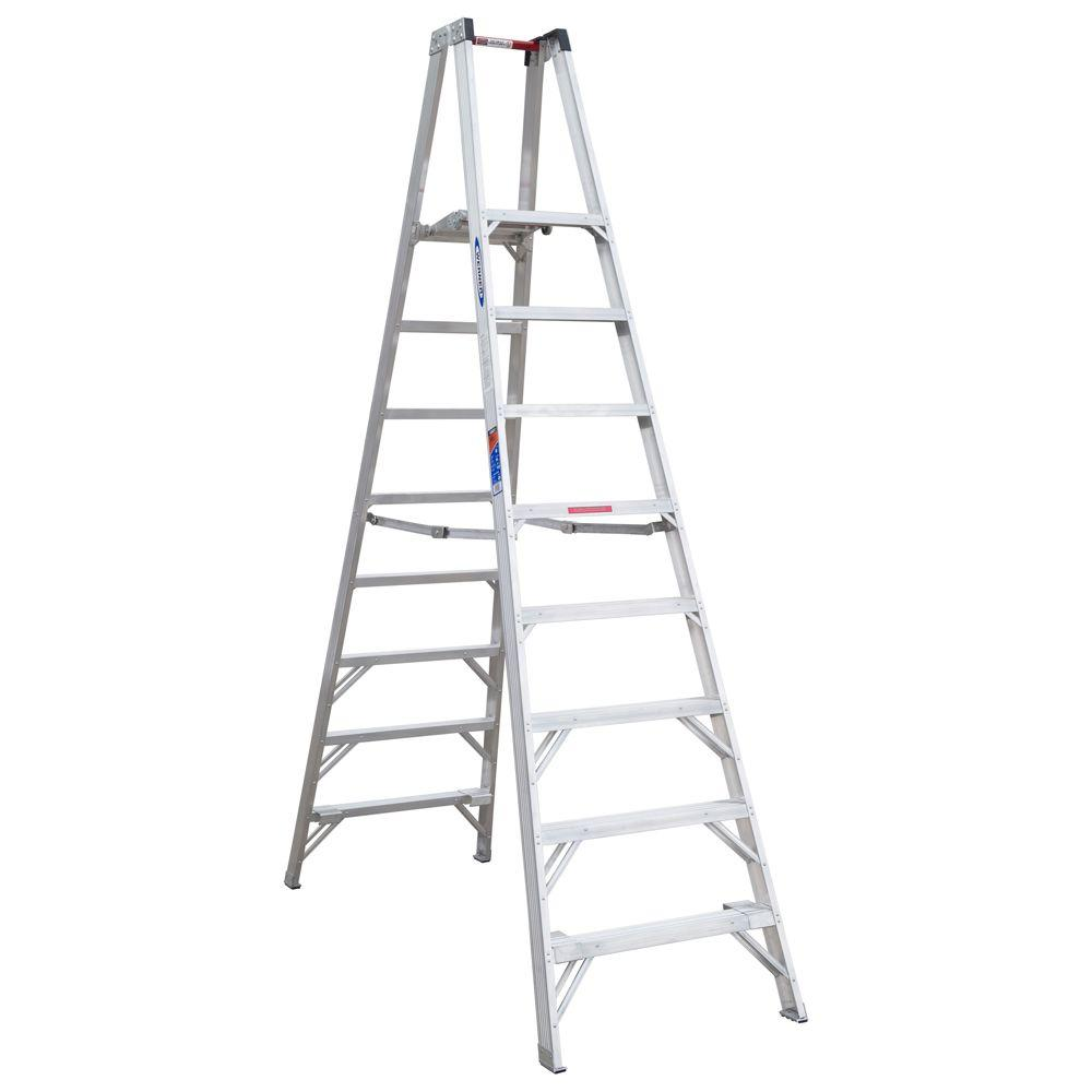 14 ft. Reach Aluminum Platform Twin Step Ladder with 300 lb.