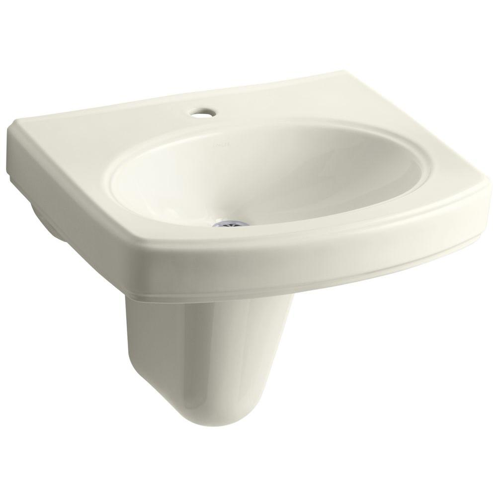 Pinoir Wall-Mount Vitreous China Bathroom Sink in Biscuit with Overflow Drain