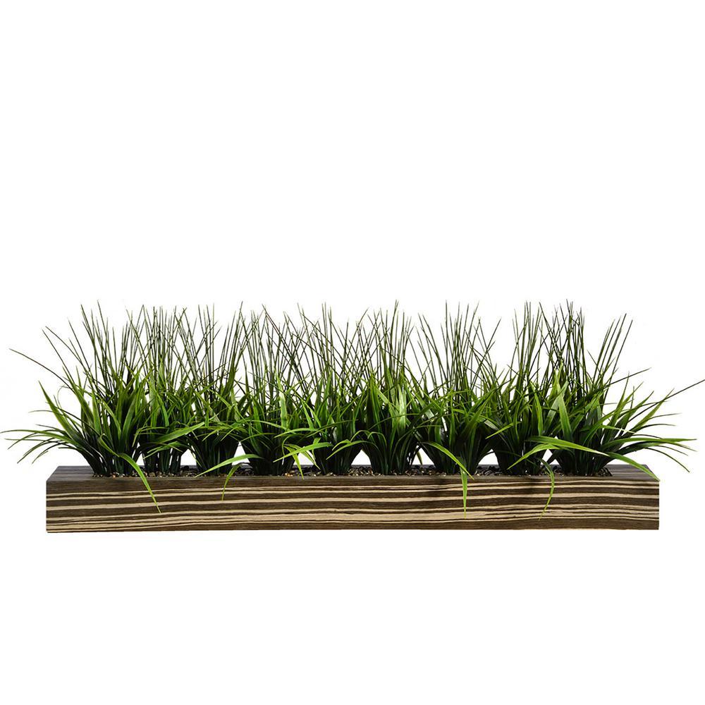 13 in. Tall Green Grass Artificial Indoor/ Outdoor Decorative Greenery in Zebra Wood Pot