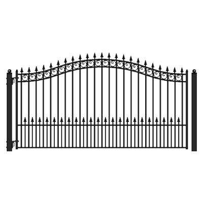 Prague Style 18 ft. x 6 ft. Black Steel Single Swing Driveway Fence Gate