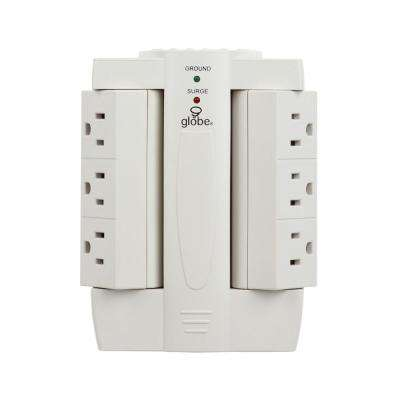6-Outlet Swivel Surge Protector White Wall Tap