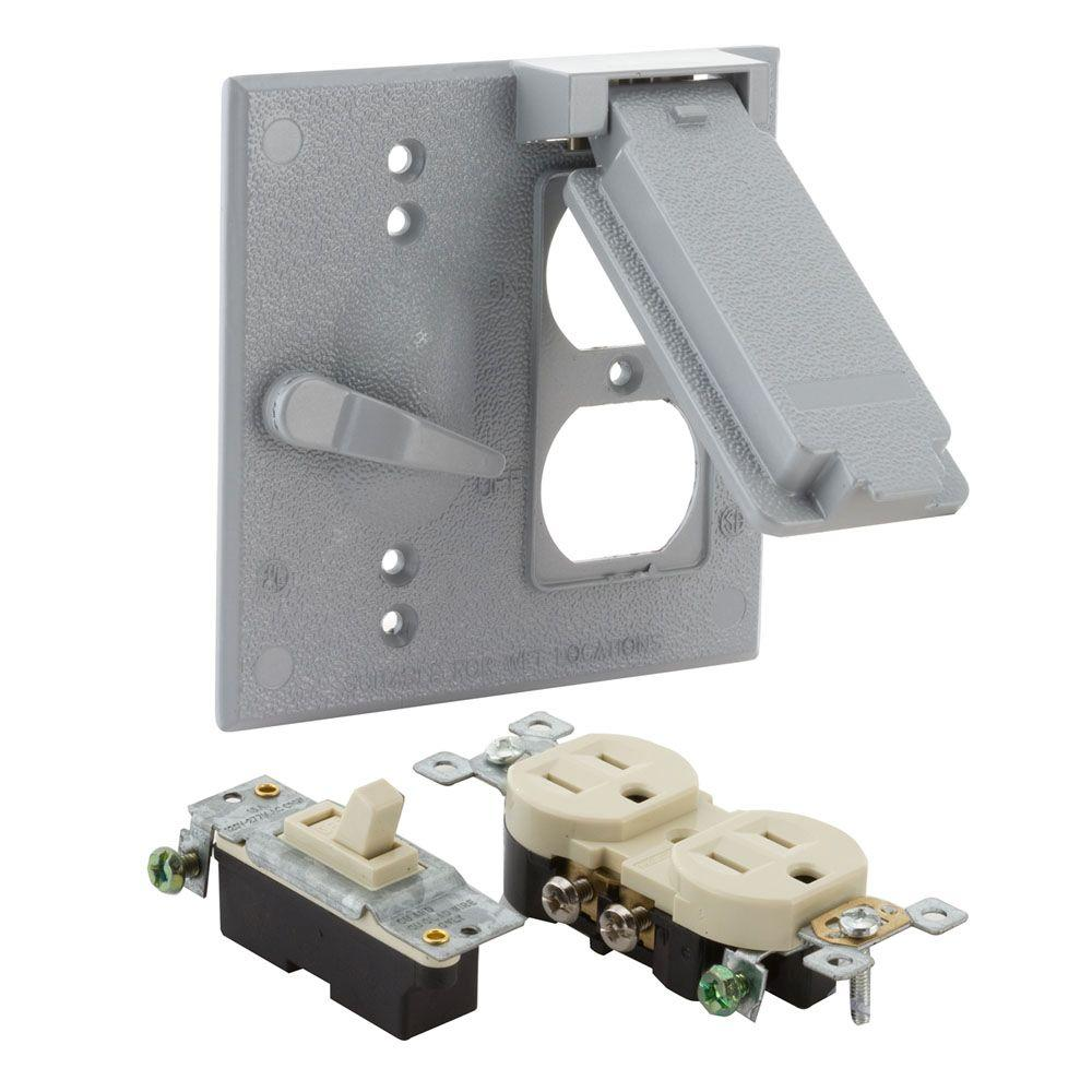 2-Gang Weatherproof Toggle Switch/Duplex Cover Kit