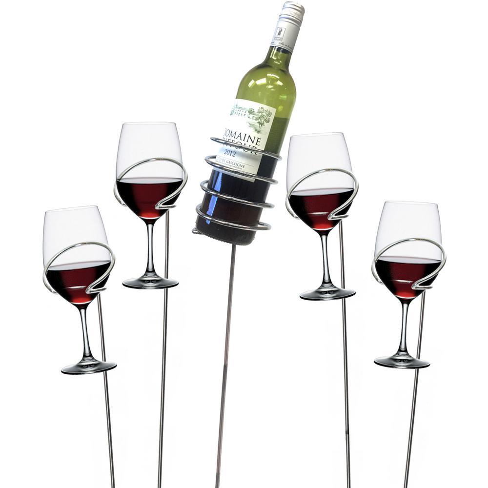 Picnic Wine Bottle and Glass Holder Stemware Organizer Sticks Set (5-Piece)