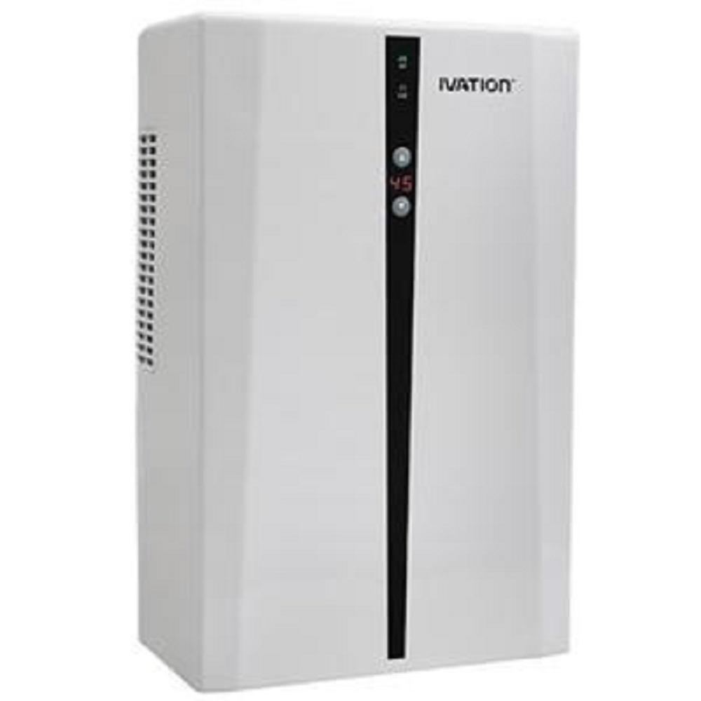 Ivation Powerful Mid-Sized Thermo-Electric Intelligent Dehumidifier, Whites Ivation Small-Area Compact Dehumidifier. Thermo-Electric Technology Continuous drain hose for smaller spaces such as attics and closets. Small in size and quiet. Removes 70 Oz. of water per day. Color: Whites.