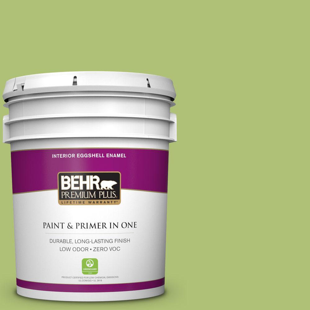 5 gal. #HDC-SM14-5 Lavish Lime Zero VOC Eggshell Enamel Interior Paint