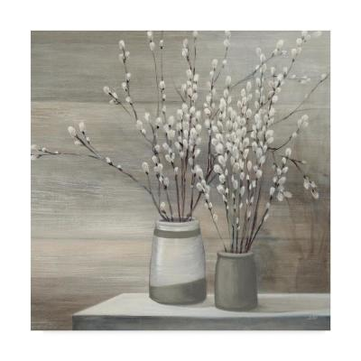 """35 in. x 35 in. """"Pussy Willow Still Life Gray Pots Crop"""" by Julia Purinton Printed Canvas Wall Art"""