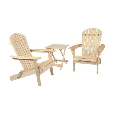 Maribella Natural Folding Wood Adirondack Chair with Table (2-Pack)