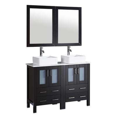 48 in. W Double Bath Vanity with Pheonix Stone Vanity Top in White with White Basin and Mirror