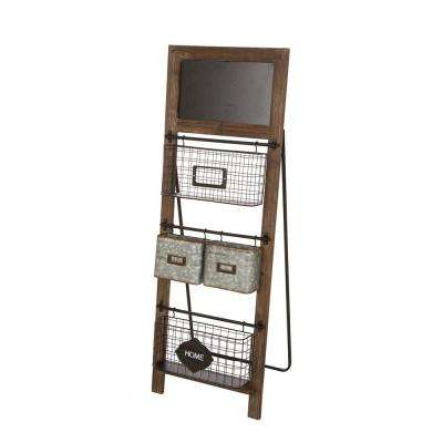 43.31 in. H Rustic Farmhouse Style Metal/Wood Stand Shelf Magazine Rack with 4-Baskets