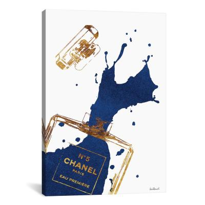 """Gold Perfume Bottle With Navy Blue Splash"" by Amanda Greenwood Canvas Wall Art"