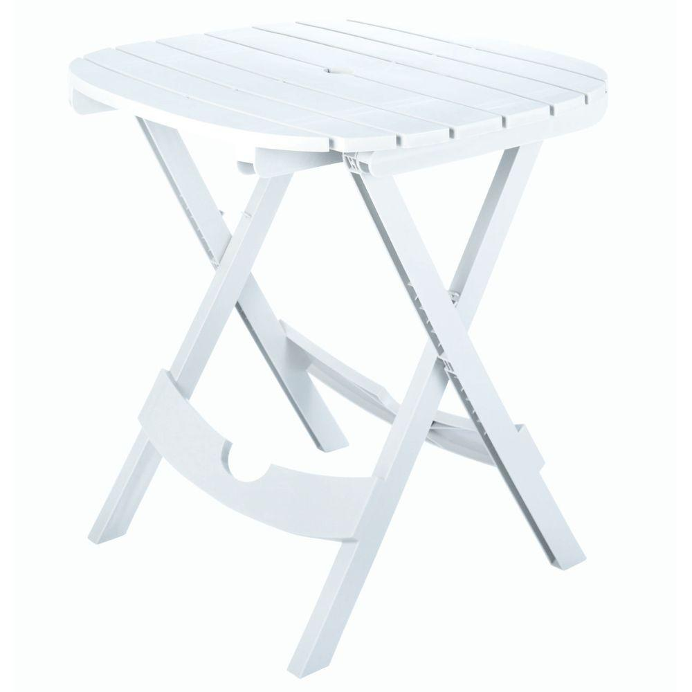 Quik Fold White Resin Plastic Outdoor Cafe Table