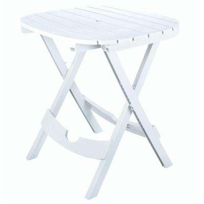 Quik-Fold White Resin Plastic Outdoor Cafe Table