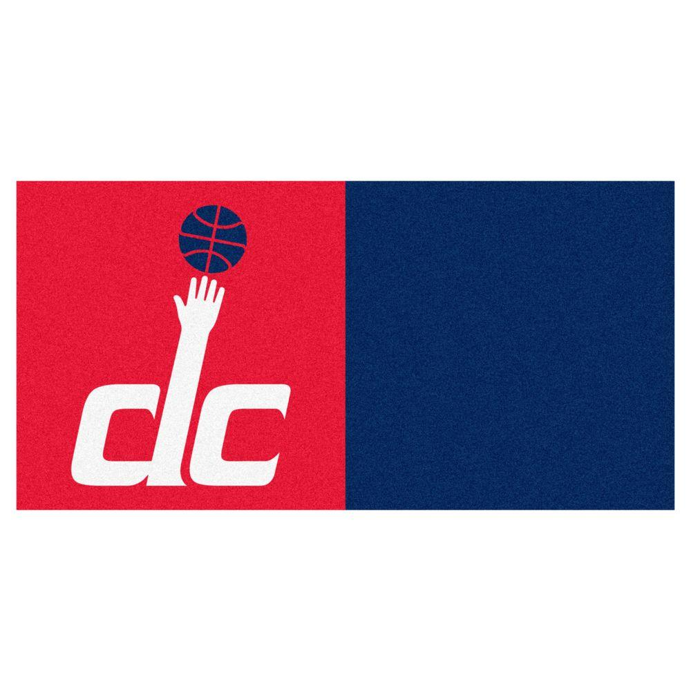 FANMATS NBA Washington Wizards Red and Blue Pattern 18 in. x 18 in. Carpet Tile (20 Tiles/Case)