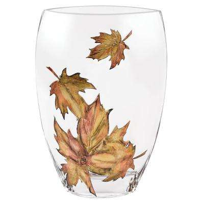 Yellow and Gold Maple Leaves Design Mouth Blown European Decorative Vase