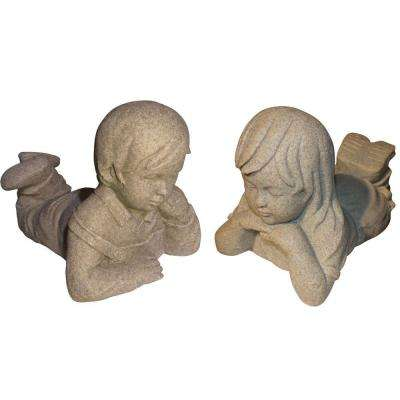Boy and Girl Day Dreamers in Sandstone Finish