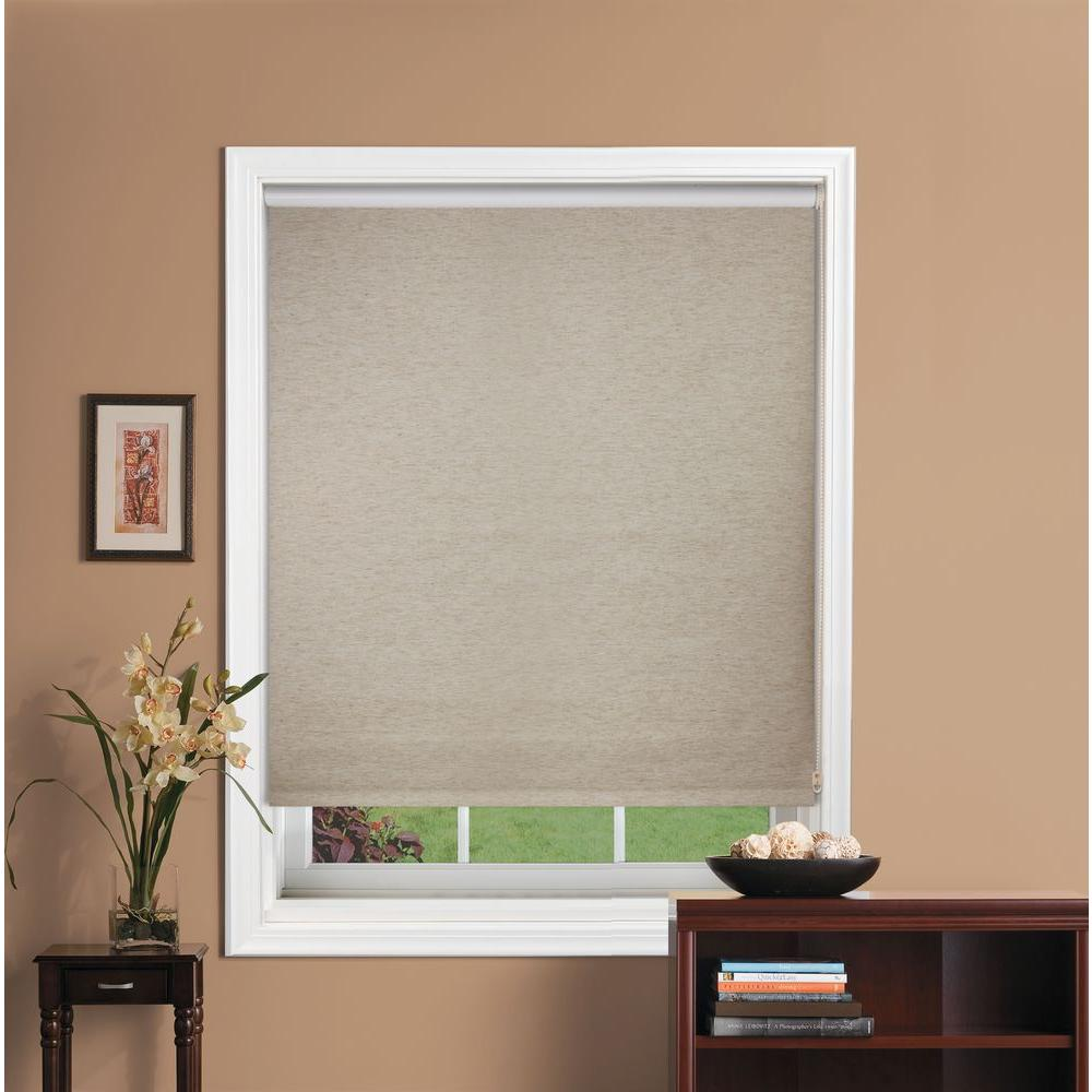 Bali cut to size oatmeal light filtering fabric roller shade 60 in