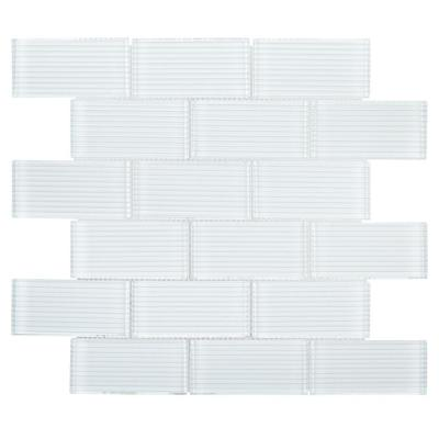 Simple Escape White 11.75 in. x 11.625 in. x 8 mm Interlocking Textured Glossy Glass Mosaic Tile