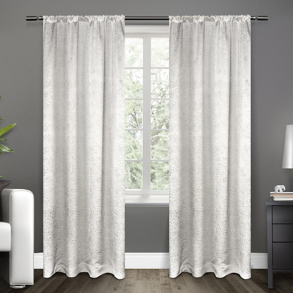 Embossed Satin Winter White Rod Pocket Top Window Curtain