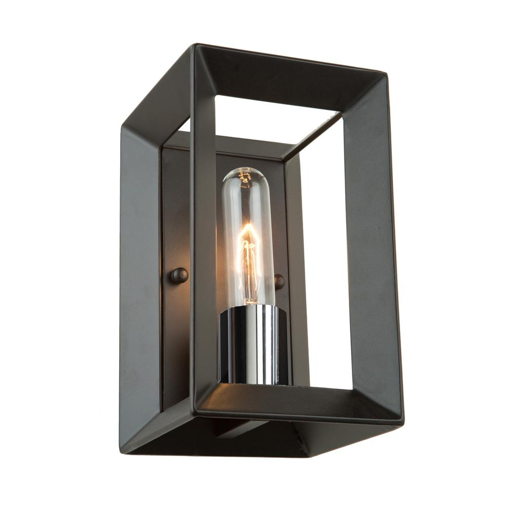 ARTCRAFT Vineyard 1-Light Black and Chrome Sconce The Vineyard collection features a simple and sophisticated design with its tube shaped bulbs surrounded by a metal cage in a matte black finish. (1 light wall sconce)