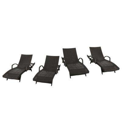 Salem Multi-Brown 4-Piece Wicker Adjustable Outdoor Chaise Lounge