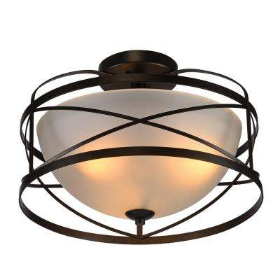 Bertrand 3-Light Black Flushmount with Frosted Glass Shade