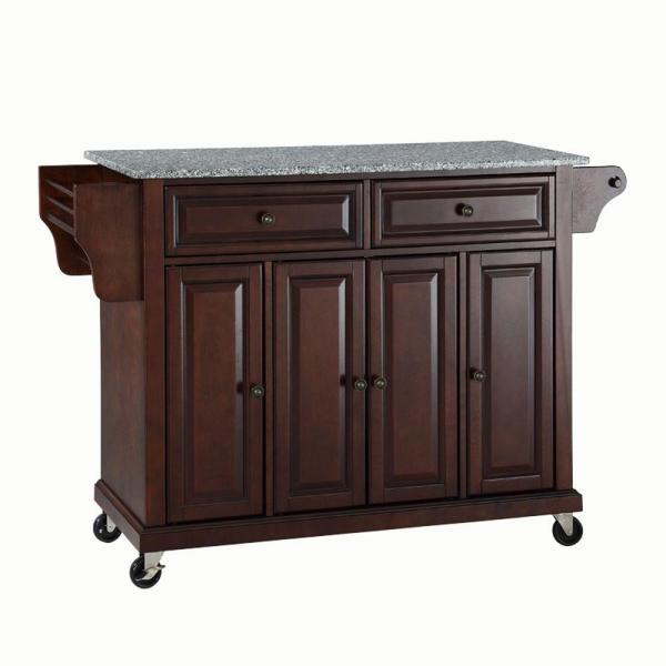 Full Size Mahogany Kitchen Cart with Granite Top