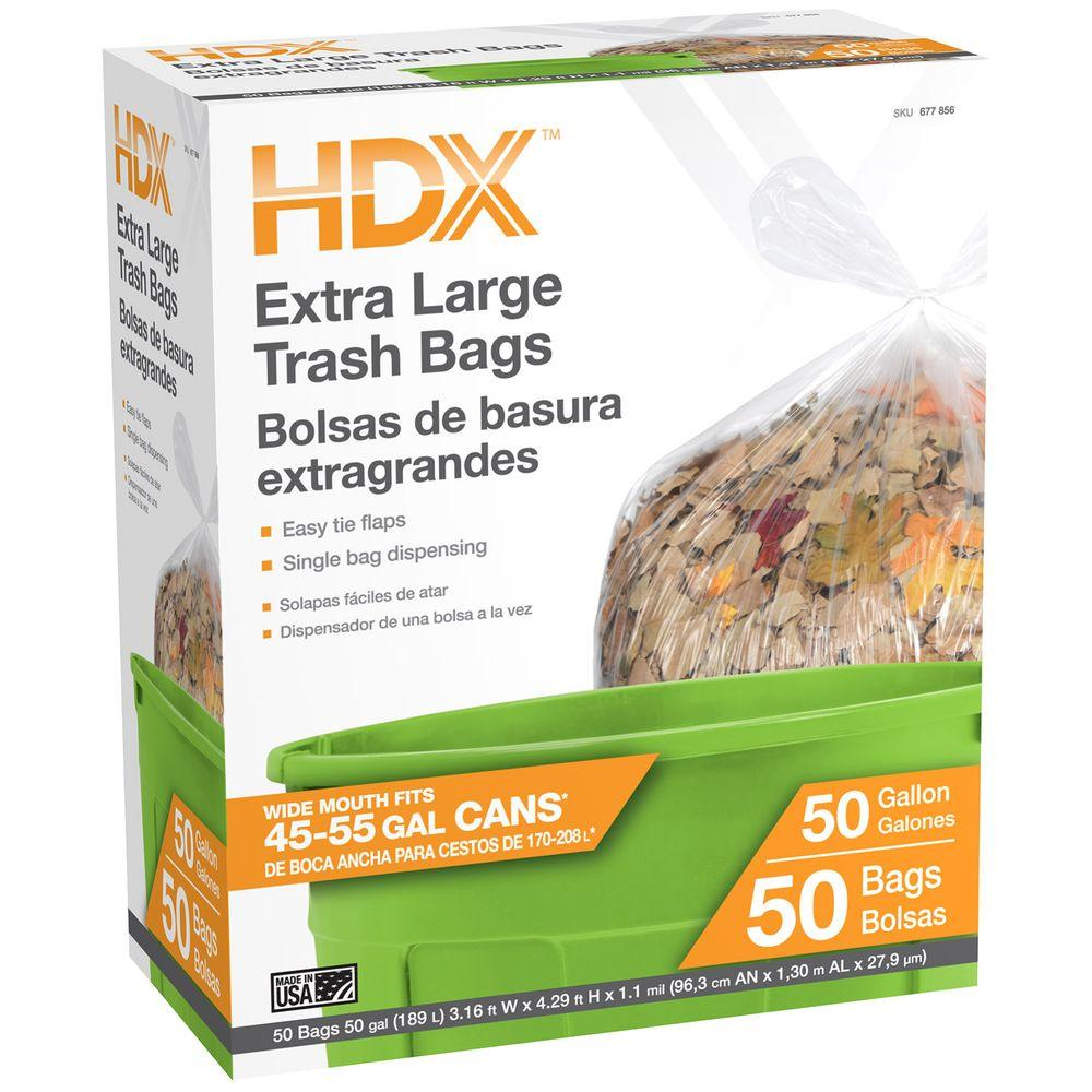 50 Gal. Extra Large Clear Trash Bags (50-Count)