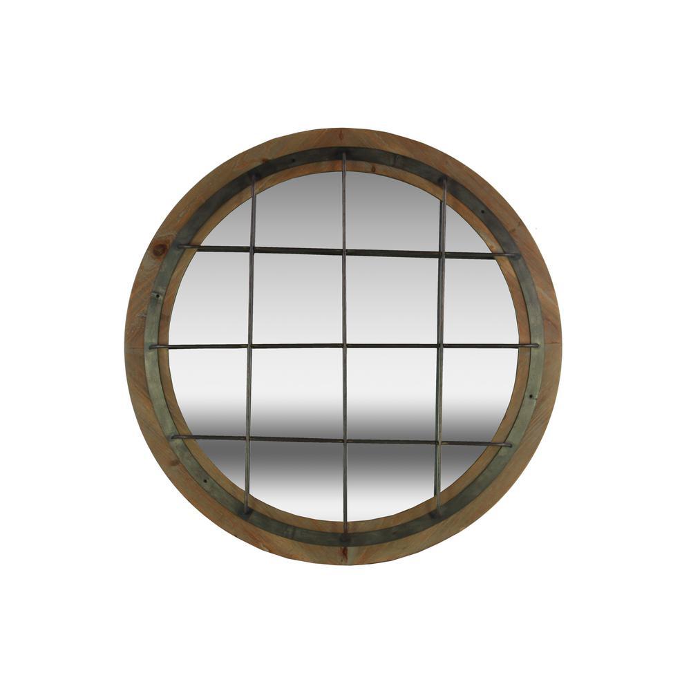 Round Brown Natural Wood Wall Mirror