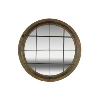 Round Brown Natural Wood Wall Mirror