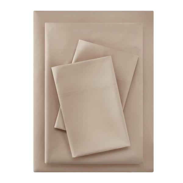 Brushed Soft Microfiber 4-Piece King Sheet Set in Khaki