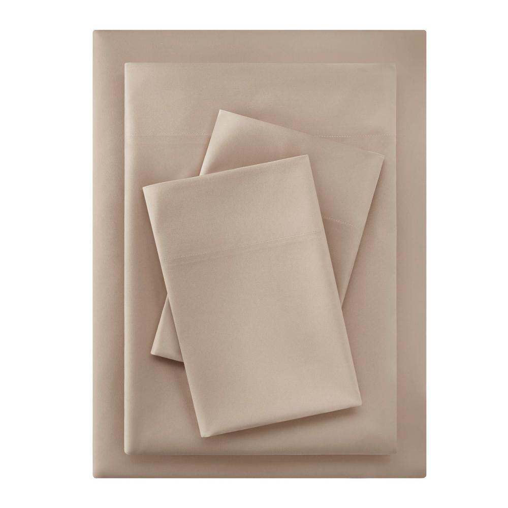 Brushed Soft Microfiber 4-Piece Queen Sheet Set in Khaki