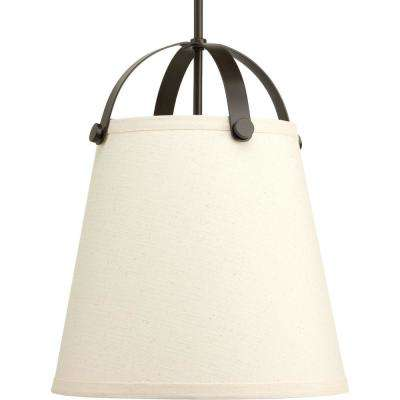 Galley Collection 2-Light Antique Bronze Pendant with Linen Shade