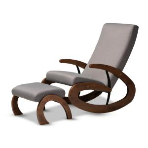 Fine Baxton Studio Kaira Gray And Walnut Fabric Rocking Chair And Short Links Chair Design For Home Short Linksinfo