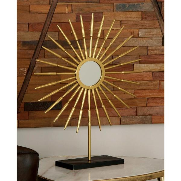Litton Lane 28 in. Arrow-Shaped Radial Pattern Decorative Sculptures in Gold
