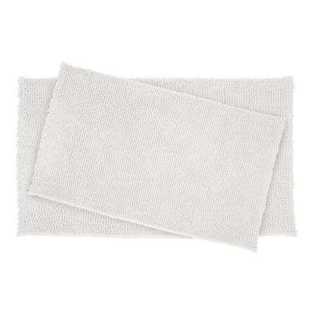 21 in. x 34 in. Plush Shag Chenille Memory Foam Bath Mat Set in White (2-Piece)