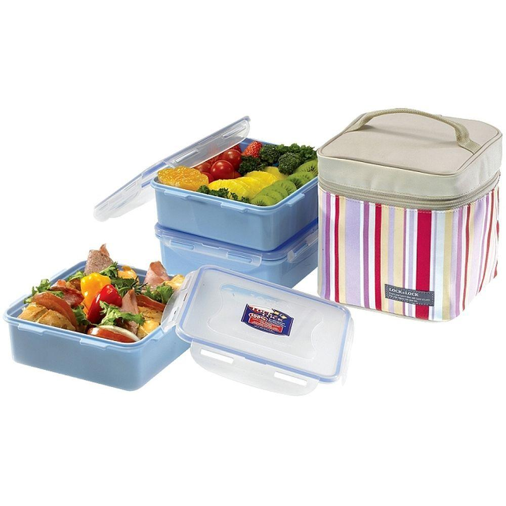 Lock and Lock Square Lunch Box 3 Piece Set Pink-DISCONTINUED