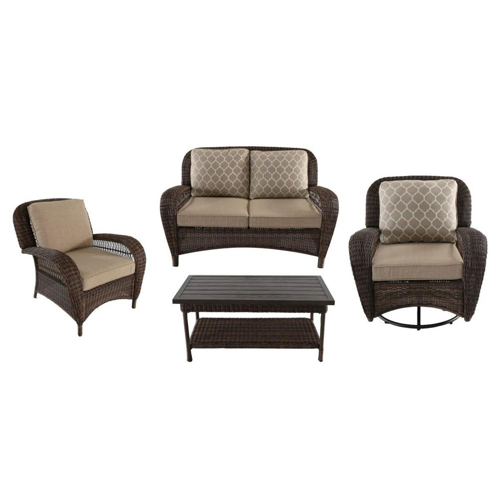 Hampton Bay Beacon Park 4-Piece Steel Wicker Outdoor Deep Seating Set with Toffee Cushions