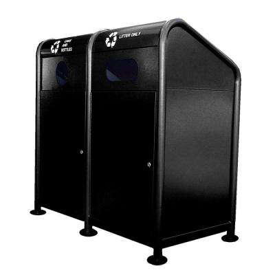 68 Gal. Steel Recycling Station in Black