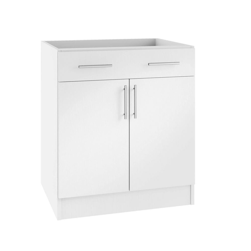 WeatherStrong Assembled 36x34.5x24 in. Miami Island Outdoor Kitchen Base  Cabinet with 2 Doors and 1 Drawer in Radiant White