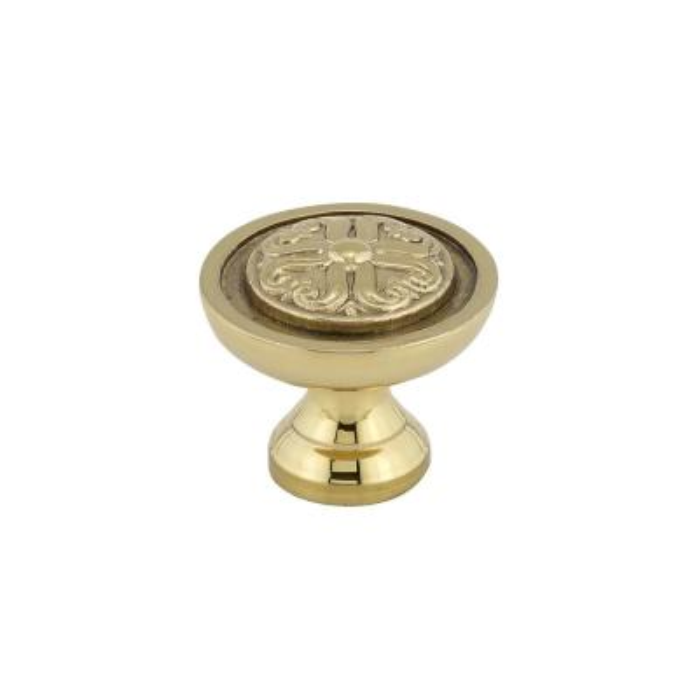 1 in. (25 mm) Brass Traditional Brass Cabinet Knob