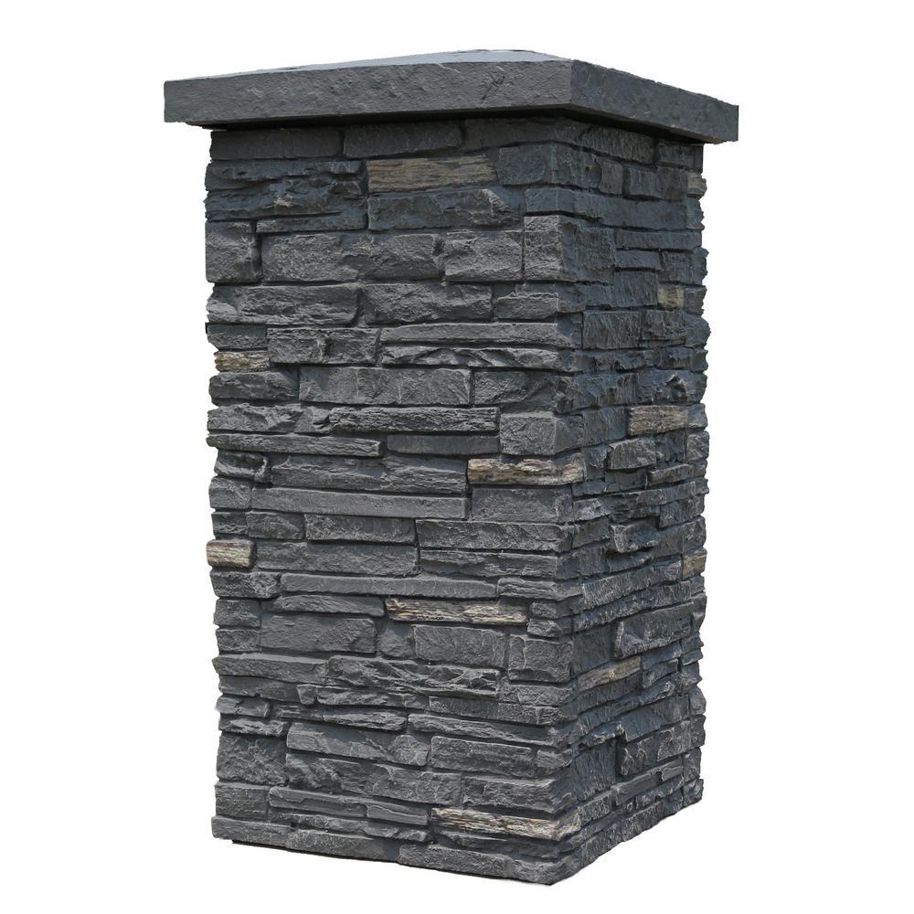Slatestone Midnight Ash 30 In X 16 Faux Polyurethane Stone
