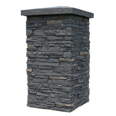 Slatestone Midnight Ash 30 in. x 16 in. Faux Polyurethane Stone Column Wrap (4-Piece)