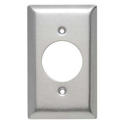 302 Series 1-Gang 1.59 in. Hole Power Outlet Wall Plate in Stainless Steel