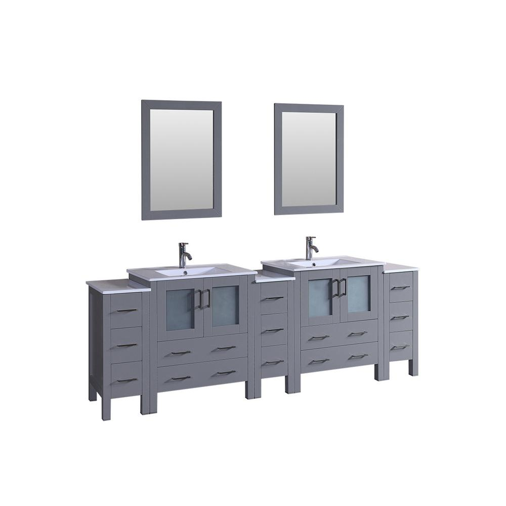 Bosconi 96 In W Double Bath Vanity In Gray With Vanity Top In White