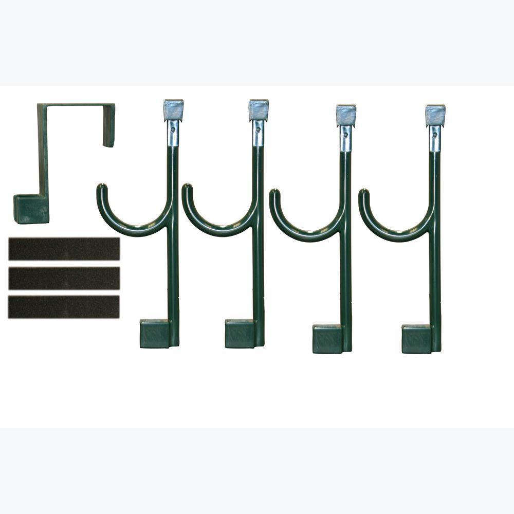 Door Hanger and 4 Universal Hooks In Bistro Green