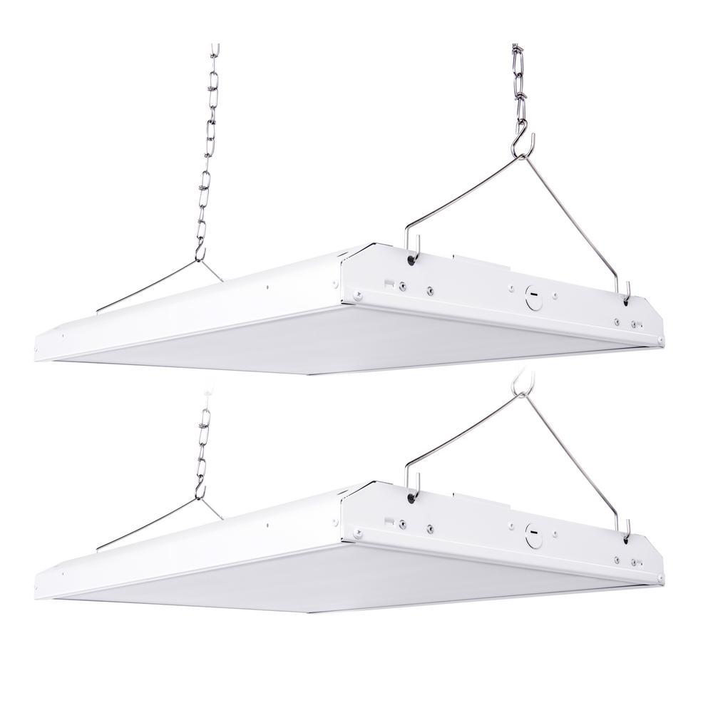 Linear 4 ft. 220-Watt (700-Watt Equivalent) Integrated LED Dimmable White High Bay Light 5000K (2-Pack)